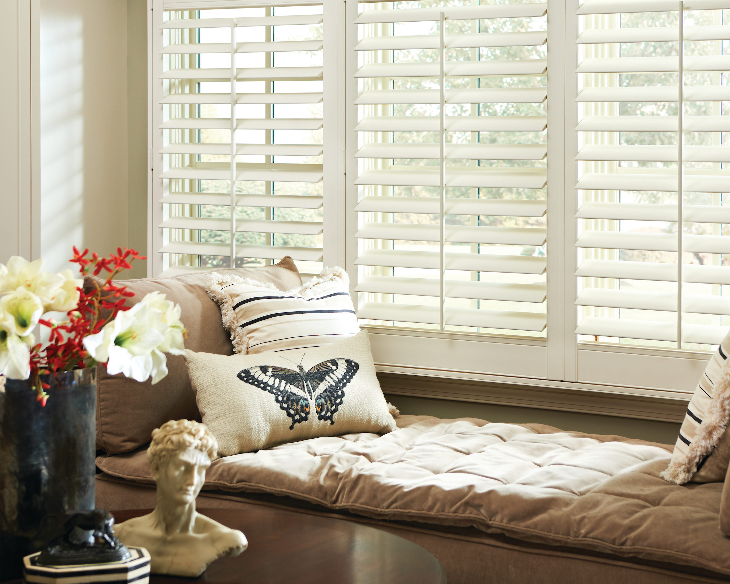 Eclipse plantation shutters in study