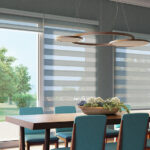 dual shades in dining room
